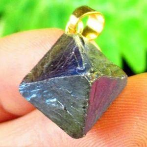 New Rainbow Titanium Crystal Agate Pyramid Pendant